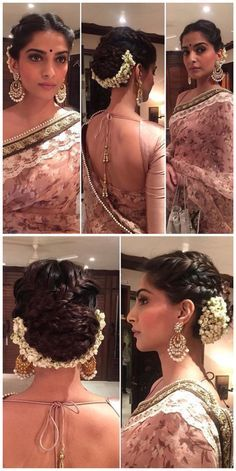 Sonam Kapoor's hairstyle is on fleek for a wedding. Love the braided updo complete with gajra. Makeup is on point too. Indian Bollywood fashion.