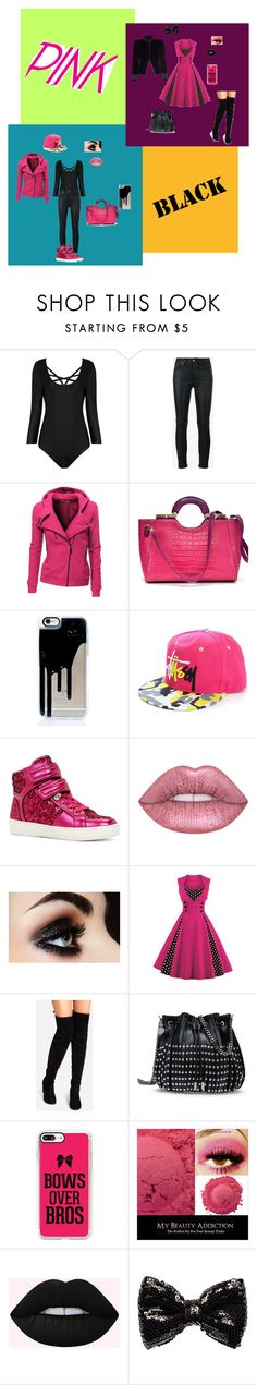 """Pink & black"" by cobrakai72 ❤ liked on Polyvore featuring Yves Saint Laurent, Doublju, Dasein, ALDO, STELLA McCARTNEY, Casetify, Carole and Marc Jacobs"