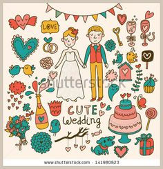 Wedding vector set Cartoon illustration about marriage Save the date invitation card with bride and groom, cake, birds, hearts, gifts, champ...