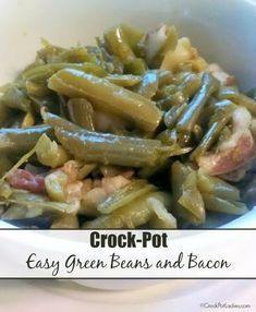 Crock-Pot Easy Green Beans and Bacon - Just 5 simple ingredients makes up this amazingly delicious Crock-Pot Easy Green Beans and Bacon recipe. You really just cannot go wrong with this easy side dish flavored with bacon and a touch of maple syrup! We think it is special enough to serve at any holiday meal but simple enough for everyday too!   CrockPotLadies.com