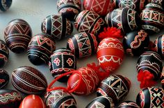 These original Easter eggs from Bela Krajina Region (SE of Slovenia) were made by Nevenka Brajdič Grušovnik.