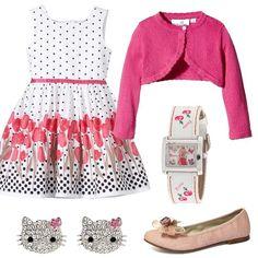 Per la nostra piccola principessa, per un evento speciale, scegliamo un vestito bianco senza maniche con pois e fiori, cardigan rosa, ballerine in tela, orologio di Barbie e orecchini con cristalli a forma Hello Kitty. Sarà la più bella.