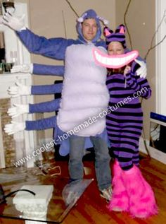 This year for Halloween, my boyfriend and I dressed in Homemade Caterpillar and Cheshire Cat Costumes. My costume was very easy: I bought 3 pairs of stripe Inexpensive Halloween Costumes, Cool Couple Halloween Costumes, Easy Diy Costumes, Homemade Costumes, Cat Costumes, Disney Costumes, Costume Ideas, Halloween 2016, Cheshire Cat Costume