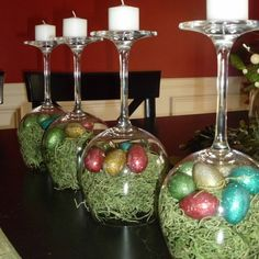 easter table ideas and round up. how about using wine glasses at candle holders