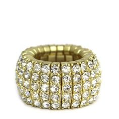 """Fashion Stretch Ring; 0.5""""W; Gold Metal; Clear Rhinestones; Stretches to Fit Most; Eileen's Collection. $24.99"""