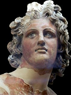 Statue labelled as Alexander the Great, but representing the god Apollo instead. It comes from the Etruscan Sanctuary of Scasato di Falerii Veteres, late 4th century BC. Museum Villa Giulia, Rome
