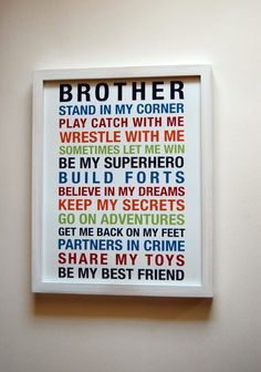 Brothers Wall Art Boys Room Wall Art Boys Rules Print