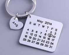 Personalized Calendar Keychain Hand Stamped by aimeestore on Etsy