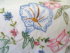 Vintage Embroidered Linen Table Runner with Morning Glory Blooms, Embroidered Dresser Scarf with Crochet Trim.