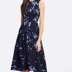 "Ann Taylor Shadow Print Dress Beautiful tea length midi dress from Ann Taylor in dark and light shades of blue. Sleeveless. Hidden back zipper. Hook and eye closure.27"" from natural waist. Ann Taylor Dresses Midi"