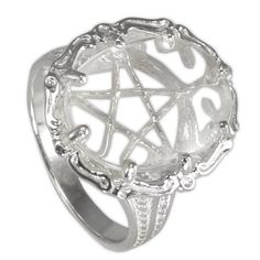 Large Clear Quartz Gemstone Pentacle Pentagram Ring Wicca Pagan Jewelry