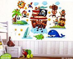 Kit 3 pz Fogli con Adesivi Murali PIRATI cm 60x90 per cameretta bambini.: Amazon.it: Casa e cucina