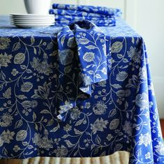 blue and white kitchen table cloth and napkins.