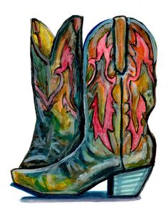 8.5 X 11 Cowboy Boots, Watercolor Painting Print on Etsy, $18.00