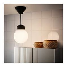 IKEA - VITEMÖLLA, Ceiling lamp, metal/glass, , Gives a diffused light which is good for spreading light into larger areas of a bathroom. Ikea Bathroom Lighting, Bathroom Sconces, Hallway Lighting, Living Room Lighting, Shop Lighting, Bathroom Ideas, Kids Ceiling Lights, Ceiling Lamp, Ceiling Lighting