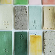 Colour test tiles from Studio Elke van den Berg. http://elkevandenberg.nl/index.html