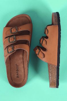 58da31dbebdb Bamboo Triple Buckled Cork Footbed Slide Sandals