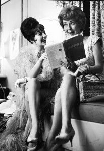 Natalie Wood with the real Gypsy Rose Lee behind the scenes of the movie Gypsy.