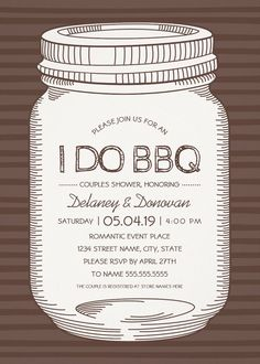 I Do BBQ Couples Shower Invitations – Unique Rustic Vintage Mason Jar Cards. Best rustic country couples shower / engagement invitations. Feature a creative mason jar illustration on a modern striped brown background. If desired, you can easily change background color. A beautiful text typography that you can edit and change color if desired. A romantic invitation perfect for rustic country themed, or other couples shower / engagement parties. More at http://superdazzle.com
