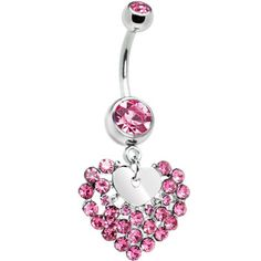 Pink Cubic Zirconia Faceted Heart Belly Ring #pink #heart #bellyring