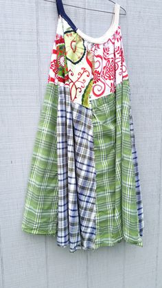 summer Upcycled clothing / Patchwork Dress / Funky Tunic Dress