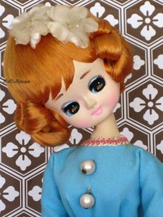 Vintage 1960's Pose Doll in Aqua Blue Dress
