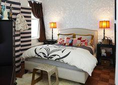 Small Rental Apartment - fancy bedroom design with black and white stripes