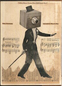 Original Collage Art on Book Cover (OOAK, unique retro home decor made with vintage paper, mixed media) - Smooth Talking Salesman. $30.00, via Etsy.