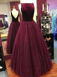 Elegant Prom Dress,Long Evening Dress,Sleeveless Burgundy Evening Dresses,