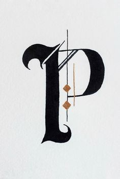 This Gothic style letter P is part of an alphabet style study in watercolor and ink. Letter P and Parrot. Tattoo Fonts Alphabet, Hand Lettering Alphabet, Gothic Lettering, Lettering Design, Calligraphy Fonts Alphabet, Penmanship, Letter Art Design, Old English Letters, Pop Art Images