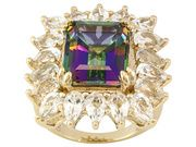 Stratify (Tm) Mystic Topaz (R) 7.50ct With 4.50ctw White Topaz 18k Yellow Gold Over Sterling Ring (STI485R)
