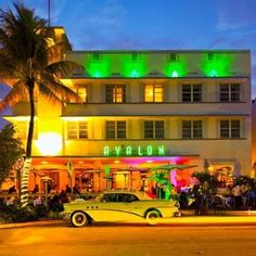 Art Deco Neon Lights Avalon Hotel South Beach Miami