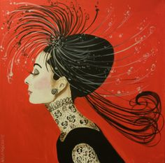 """""""Feather Hat Audrey With Lace"""" 24 x 24  change background from red?"""