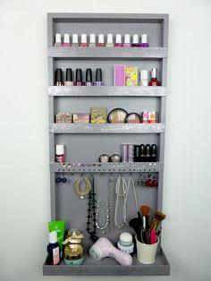 Grey-silver-glitter makeup & jewelry organizer - display - nail polish rack - beauty station -bedroom storage - rangement maquillage