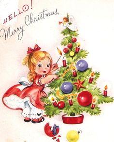 Little Girl Decorating a Tree Vintage Christmas Card. $3,00, via Etsy.