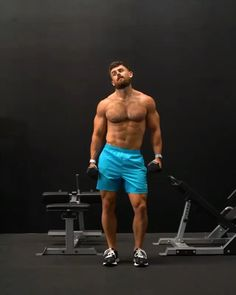 Dumbbell Workout Routine, Shoulder Workout Routine, Abs And Cardio Workout, Gym Workout Chart, Workout Routine For Men, Gym Workout Tips, Biceps Workout, Workout Videos, Fitness Workouts