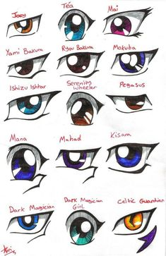 Some characters' eyes in Yu-Gi-Oh! Drawing Skills, Drawing Tips, Drawing Reference, Manga Eyes, Anime Eyes, Manga Art, Anime Art, Character Art, Character Design