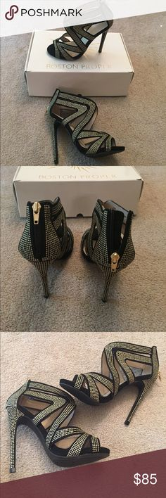 "NWT Boston Proper Beaded Heel Shoe - 6 Women's New Boston Proper shoe with box. New + never been worn.  4"" Heel. Reasonable offers welcome. Boston Proper Shoes Heels"
