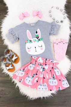 Boutique Newborn Kids Baby Girl Cotton Bunny Top T-shirt Skirt Outfit Clothes US Little Girl Outfits, Little Girl Fashion, Baby Outfits, Toddler Outfits, Kids Outfits, Kids Fashion, Dress Outfits, Fall Fashion, Fashion Outfits