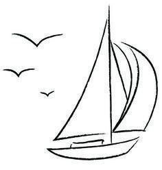 Chalk Sailboat with Birds Outline vector image on VectorStock Outline Drawings, Easy Drawings, Segel Tattoo, Sailboat Drawing, Sailboat Painting, Bird Outline, Art Inspiration Drawing, Chalkboard Art, Beach Art