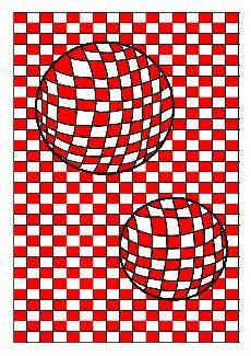 Arts visuels à l'école : Op'Art : sphères sur quadrillage. Créer un effet d'optique en utilisant un quadrillage.