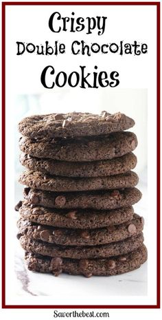 Crispy Double Chocolate Cookies that are incredibly easy to make. No creaming butter, no refrigeration, no rolling dough. They taste like a crispy brownie cookie.