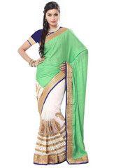 Off White & Green Color Half Net & Half Georgette Festival & Function Wear Sarees : Mokshita Collection  YF-41494