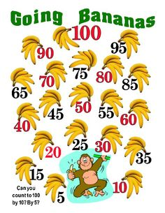 "100th Day of School counting poster in fun monkey design: ""Going bananas- Can you count to 100 by 10? By 5?"""