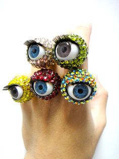 Crystal Blinking Eyeball Rings by TIMBEELO on Etsy