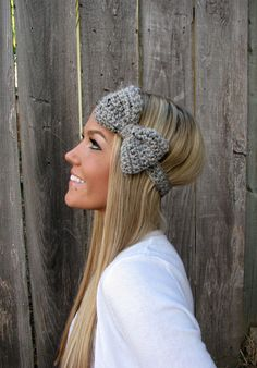 Grey Marble Bow Headband with Natural Vegan Coconut for sale.