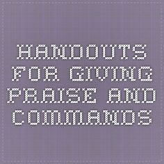 handouts for giving praise and commands