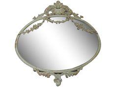 Chic Antique,Spiegel m.Deko, oval,antique beige,Landhausstil,Shabby chic