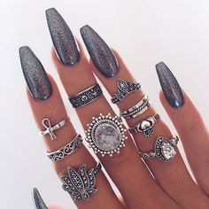 Boho Spirit Rings - Meyfflin Punk Knuckle Ring Set Fashion Midi Finger Rings for Women Boho Jewelry Accessories Vintage Bague Femme Set from BohoGipsy,Store Gorgeous Nails, Pretty Nails, Amazing Nails, Fancy Nails, Nail Art Designs, Crome Nails, Set Fashion, Nail Fashion, Female Fashion