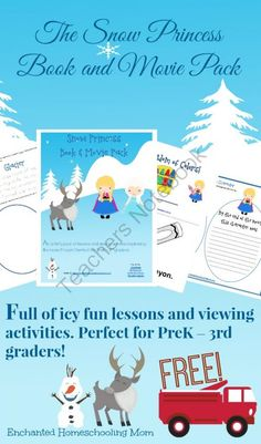 The Snow Princess Book and Movie Pack from Enchanted Homeschooling Mom Shop on TeachersNotebook.com -  (87 pages)  - My brand new FREE Snow Princess Book and Movie Pack is full of icy fun lessons and viewing activities inspired by the movie �Frozen�. Perfect for PreK � 3rd graders!